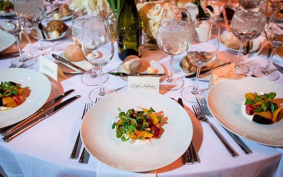 plated peach salad