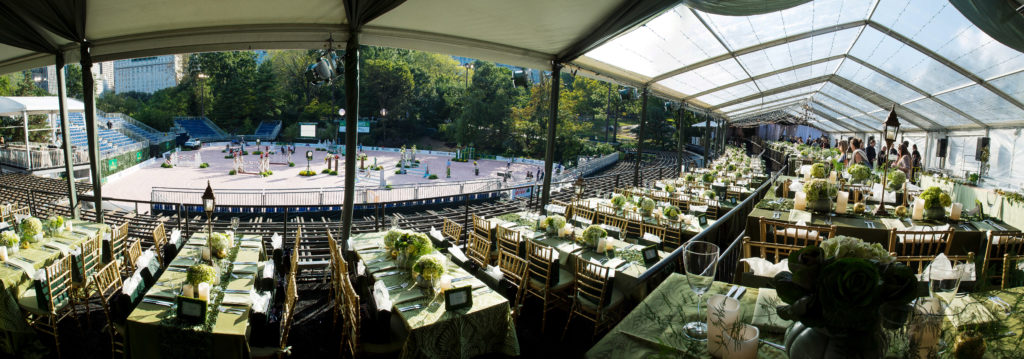 Large outdoor catered event panorama