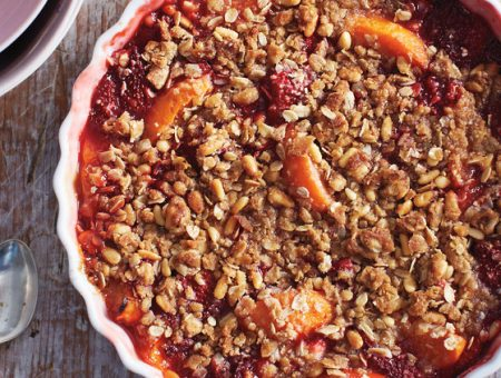 strawberry and apricot crisp with pine nut crumble ma horiz